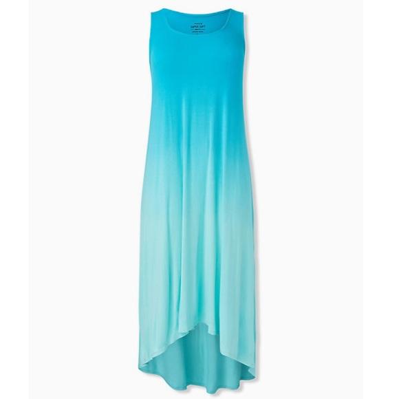 torrid Dresses & Skirts - Super Soft Blue Dip Dye Hi Low Dress
